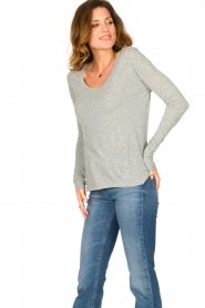American Vintage |  Basic round neck l/s T-shirt Jacksonville | grey  | Picture 3