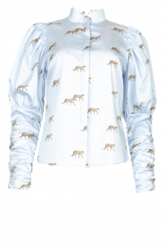 Notes Du Nord |  Puff sleeve blouse with print Nila | blue  | Picture 1