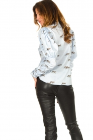 Notes Du Nord |  Puff sleeve blouse with print Nila | blue  | Picture 6