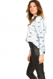 Notes Du Nord |  Puff sleeve blouse with print Nila | blue  | Picture 5