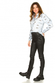 Notes Du Nord |  Puff sleeve blouse with print Nila | blue  | Picture 3