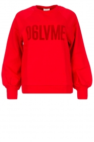Dante 6 |  Cotton sweater with text print Love Me | red
