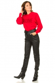 Dante 6 |  Cotton sweater with text print Love Me | red  | Picture 3