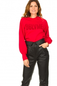 Dante 6 |  Cotton sweater with text print Love Me | red  | Picture 2