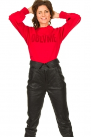 Dante 6 |  Cotton sweater with text print Love Me | red  | Picture 4