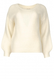 JC Sophie |  Knitted sweater with balloon sleeves Faye | white  | Picture 1