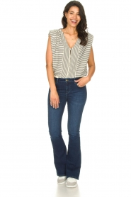Lois Jeans |  L34 High waist flared jeans Raval | dark blue  | Picture 6