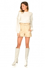 Ibana |  Leather short Sachi | beige  | Picture 4