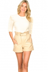 Ibana    Leather short Sachi   beige    Picture 4