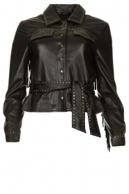 Ibana |  Leather jacket with studs Jannice | black  | Picture 1