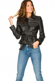 Ibana |  Leather jacket with studs Jannice | black  | Picture 2