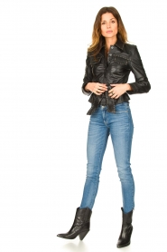 Ibana |  Leather jacket with studs Jannice | black  | Picture 3