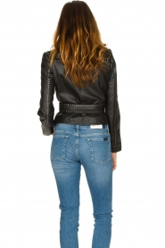 Ibana |  Leather jacket with studs Jannice | black  | Picture 7