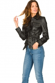 Ibana |  Leather jacket with studs Jannice | black  | Picture 5
