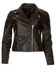 Ibana |  Croc print leather jacket Bella | black  | Picture 1