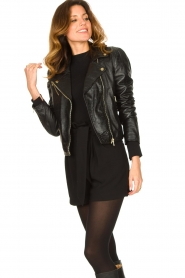Ibana |  Croc print leather jacket Bella | black  | Picture 2
