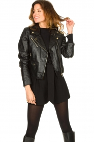 Ibana |  Croc print leather jacket Bella | black  | Picture 4