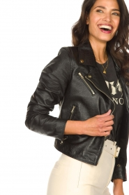 Ibana |  Croc print leather jacket Bella | black  | Picture 8