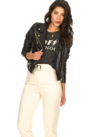 Ibana |  Croc print leather jacket Bella | black  | Picture 4