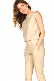 Ibana |  Leather top with shoulder padding Trixy | beige  | Picture 2
