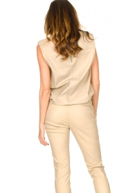 Ibana |  Leather top with shoulder padding Trixy | beige  | Picture 7