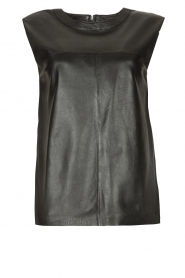 Ibana |  Leather top with shoulder padding Trixy | black