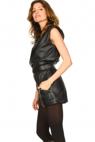 Ibana |  Leather top with shoulder padding Trixy | black  | Picture 5