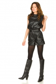Ibana |  Leather top with shoulder padding Trixy | black  | Picture 3