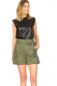 Ibana |  Leather top with shoulder padding Trixy | black  | Picture 4