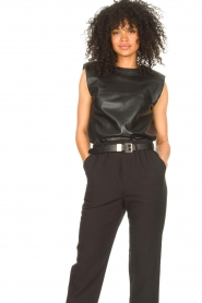 Ibana |  Leather top with shoulder padding Trixy | black  | Picture 2