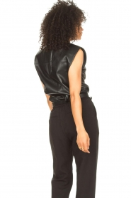 Ibana |  Leather top with shoulder padding Trixy | black  | Picture 7