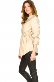 Ibana |  Leather blouse Ted | beige  | Picture 6