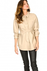 Ibana |  Leather blouse Ted | beige  | Picture 5