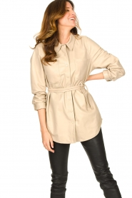 Ibana |  Leather blouse Ted | beige  | Picture 4