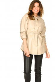 Ibana |  Leather blouse Ted | beige  | Picture 2