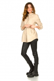 Ibana |  Leather blouse Ted | beige  | Picture 3