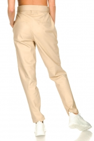 Ibana |  Leather pants with tie detail Petra | beige  | Picture 8
