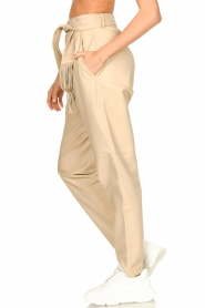 Ibana |  Leather pants with tie detail Petra | beige  | Picture 6