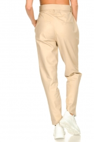 Ibana |  Leather pants with tie detail Petra | beige  | Picture 7