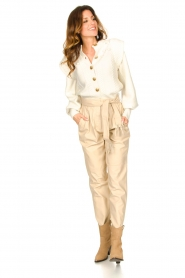 Ibana |  Leather pants with tie detail Petra | beige  | Picture 2