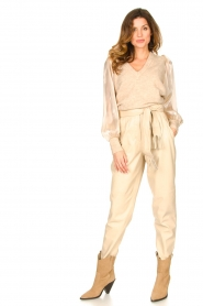 Ibana |  Leather pants with tie detail Petra | beige  | Picture 3