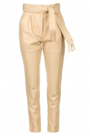 Ibana |  Leather pants with tie detail Petra | beige  | Picture 1