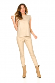 Ibana |  Leather pants Colette | beige  | Picture 3