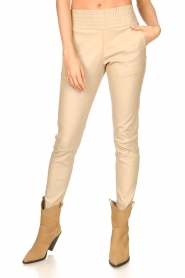 Ibana |  Leather pants Colette | beige  | Picture 5