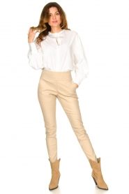 Ibana |  Leather pants Colette | beige  | Picture 4