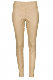 Ibana |  Leather pants Colette | beige  | Picture 1