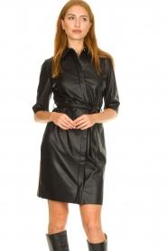 Dante 6 |  Faux leather midi dress Baroon | black  | Picture 4