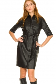 Dante 6 |  Faux leather midi dress Baroon | black  | Picture 2