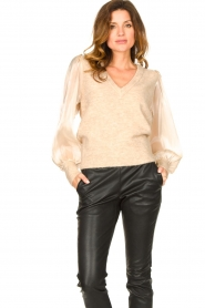 Dante 6 |  Sweater with see-through sleeves Joelle | natural  | Picture 5