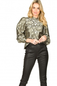 Dante 6 |  Jacquard blouse with Doyes | gold  | Picture 4